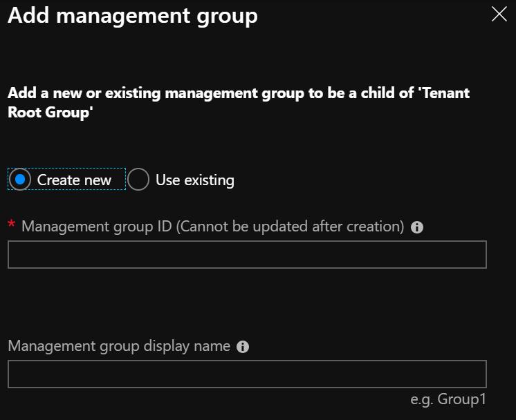 Azure Blueprints - Mgmt Group Add mgmt group