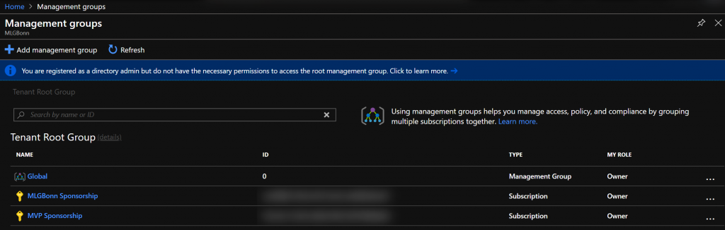 Azure Blueprints - Mgmt Group First mgmt group and subscription overview