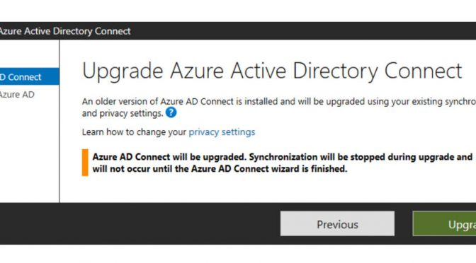 AZURE AD Connect Release 1.6.4.0 is available and moves synchronization to new Azure AD V2 endpoint and fixed a Bug in 1.6.2.4